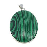 Malachite pendants china wholesale beads wholesaler jewelry 15 malachite pendants with brass flat oval platinum color plated natural approx aloadofball Choice Image